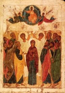 Икона Вознесения Господня, кисти св. Андрея Рублева, 1408 г. Третьяковская галерея