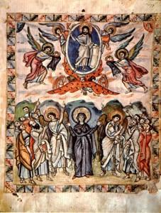 Вознесение Господне. Миниатюра из Евангелия Раввулы. 586 г. (Larent. Plut. I 56. Fol. 13v)